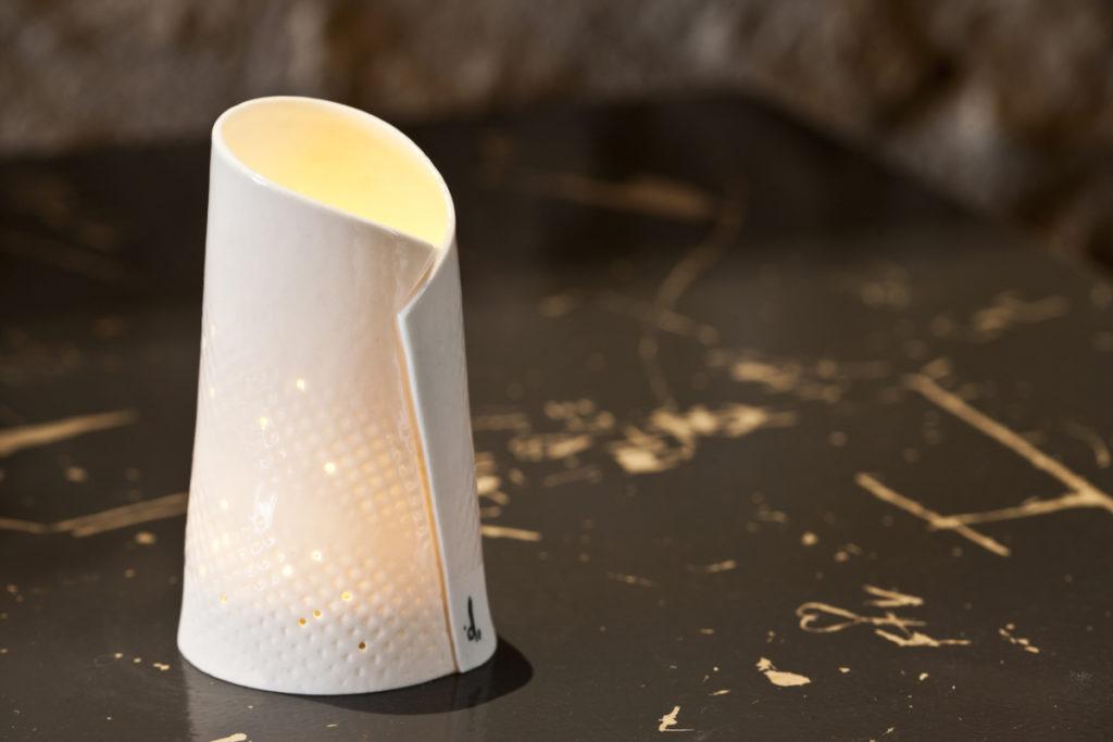 Photophore papier porcelaine BUTTON Atelier Ceramics d. Delphine Millet